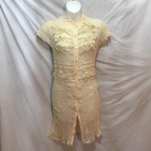 Xhilaration Dresses & Skirts - New retro sheer ruffled Mini dress button front M